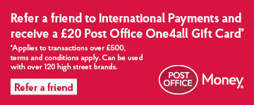 Refer a friend for International Payments and receive a £20 Post Office 0ne4all gift card*