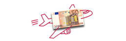 50 Euro note on drawing of an aeroplane