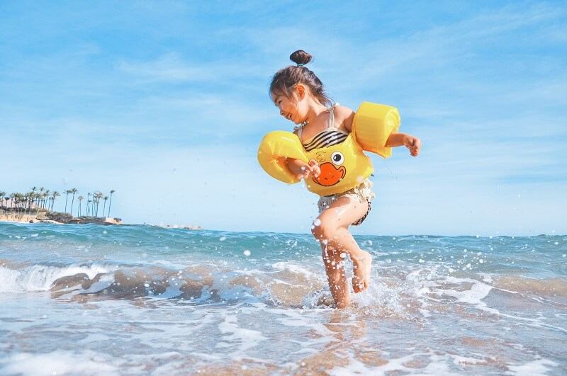 If you're travelling with a toddler to the beach then remember to pack a very high SPF sun cream and apply it regularly – especially if they're in and out of the pool or sea.