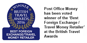 Post Office Money has been voted winner of the 'Best Foreign Exchange / Travel Money Retailer' at the British Travel Awards
