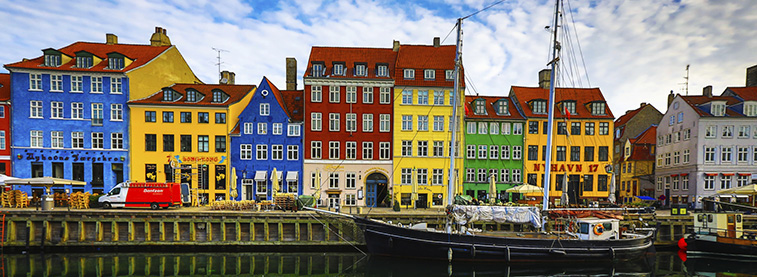 Colourful houses next to a canal in Denmark