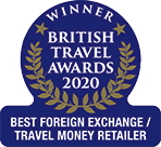 British Travel Awards 2020 gold winner Best Foreign Currency Exchange