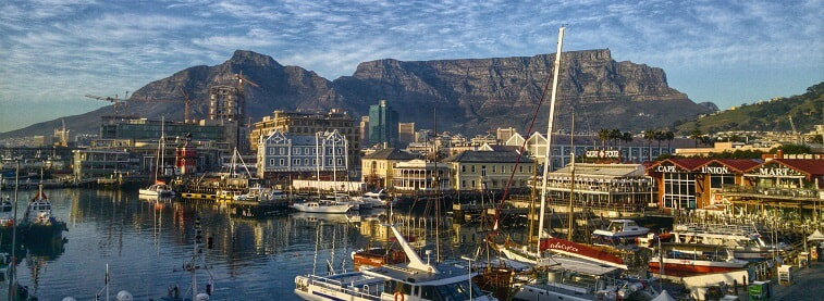 Table mountain and Cape Town marina