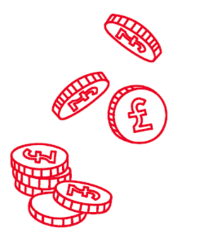 Drawing of pound coins stacked in a pile