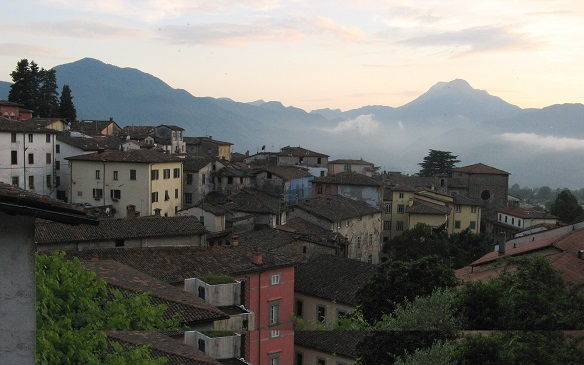 Town of Barga and distant mountains