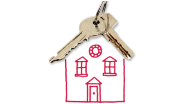 Illustration of house with keys