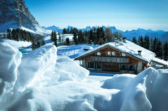 Chalet in the mountains with snow