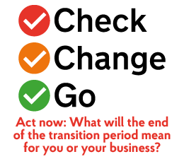 Act now. Find out what the end of the UK's transition period from the EU means for you or your business. Including tips to help you Check, Change, Go.