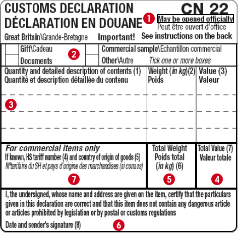 Customs Forms For Sending Abroad Post Office