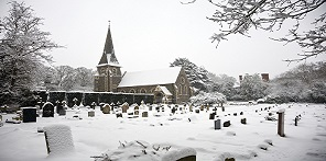 Churchyard in the snow button