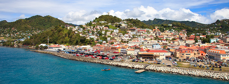 View of town from the sea in East Caribbean