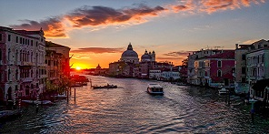Venice at sunset button
